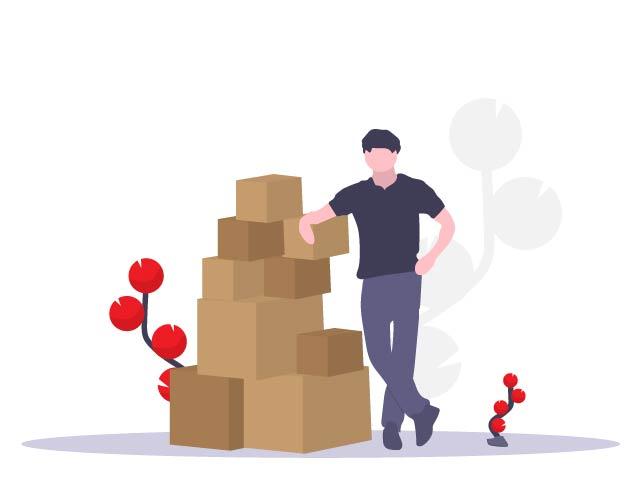 man pile boxes